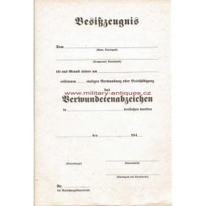 Paper for German Verwundetenabzeichen