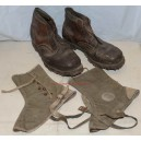 German WW2 Mountain Troops ankle boots and spats leggings puttees