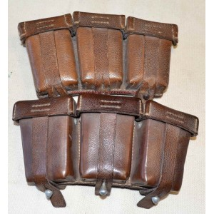 Pair of German WW2 Luftwaffe K98 brown leather ammo pouch
